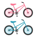 Pink And Blue Bicycles For Kids Isolated On A White Background. Vector Illustration.