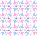 Pink and blue cupids and hearts with bows arrows banners in baby girl baby boy Royalty Free Stock Photos
