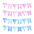 Pink and blue flags garland. Birthday celebration. Watercolor illustration