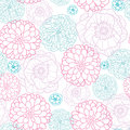 Pink blue flowers lineart seamless pattern vector background with modern floral texture Stock Image