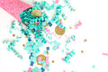 Pink blue and gold confetti celebration background Royalty Free Stock Photo