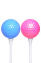 Pink blue and golf ball on white background Royalty Free Stock Photography
