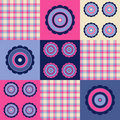 Pink blue plaid flower Royalty Free Stock Photo