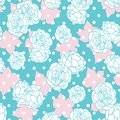 Pink blue rose garden with dots seamless vector repeat pattern