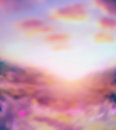 Pink blurred nature background with sunlight sky ang Stock Images