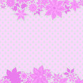 Pink borders with flowers frame for text against the polka dot background Royalty Free Stock Photography