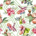 Pink bouquet wildflower. Seamless background pattern. Fabric wallpaper print texture. Royalty Free Stock Photo