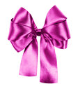 Pink bow isolated made from silk ribbon Royalty Free Stock Image