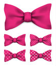 Pink bow tie with white dots realistic vector illustration set