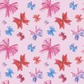 Pink bows, pattern, watercolor