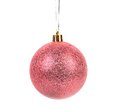 Pink brilliant christmas ball isolated on a white background Royalty Free Stock Photos