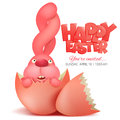 Pink bunny in broken egg. Easter invitation card