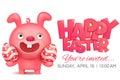 Pink bunny emoji character holding easter egg
