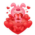 Pink bunny emoticon cartoon character with red hearts