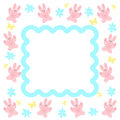 Pink bunny frame with blue flowers and yellow butterflies illustration Royalty Free Stock Image
