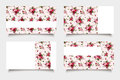Pink business cards with rose patterns. Vector eps-10. Royalty Free Stock Photo