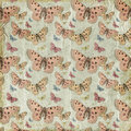 Pink butterflies repeat pattern background Royalty Free Stock Photo
