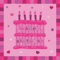Pink cake birthday card Royalty Free Stock Photo