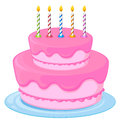 Pink cake illustration of a birthday on a white background Royalty Free Stock Photography
