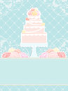 Pink cake and roses on blue background conceptual illustration of a Royalty Free Stock Photo