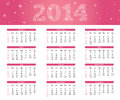 Pink calendar in style with snowflakes Royalty Free Stock Photography