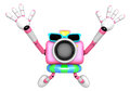 Pink camera character dynamic jump create d camera robot series Royalty Free Stock Photos