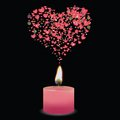 Pink candle colorful illustration with and heart for your design Royalty Free Stock Photography