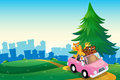 A pink car with animals running at the hilltop illustration of Royalty Free Stock Image