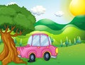A pink car bumping the big tree