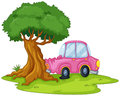 A pink car bumping the giant tree illustration of on white background Royalty Free Stock Image
