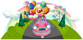 A pink car with a female clown illustration of on white background Royalty Free Stock Image