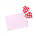 Pink card for congratulation with hearts isolated on white Royalty Free Stock Image