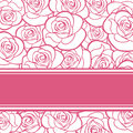 Pink card with roses silhouettes Royalty Free Stock Photo