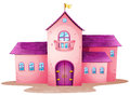 A pink castle illustration of on white background Stock Image