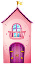 A pink castle illustration of on white background Royalty Free Stock Photo