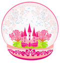 Pink castle inside the dome illustration of a Stock Photos