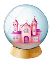 A pink castle inside the dome illustration of on white background Stock Photography