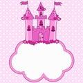 Pink castle for a princess on a cloud