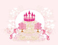 Pink castle and unicorns abstract image of a Royalty Free Stock Photos