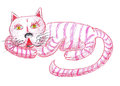 Pink cat illustration on paper Royalty Free Stock Images