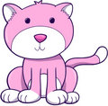 Pink Cat Vector Stock Image