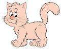 Pink cat (vector clip-art) Stock Photos
