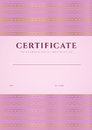 Pink certificate diploma template pattern of completion design background with guilloche watermark border frame useful for Royalty Free Stock Photos