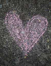 Pink chalk heart of sidewalk Royalty Free Stock Photo