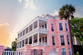 Pink charleston mansion located in the historic district Stock Images