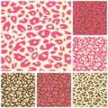 Pink Cheetah Print Seamless Pattern Set Royalty Free Stock Photo