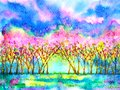 Pink cherry blossom forest spring season watercolor painting illustration hand drawn design