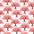 Pink cherry blossom tree or cherry tree background. Japanese sakura pattern background. Asian spring floral tree pattern.