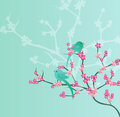 Pink cherry blossoms bird on branch with Stock Photos