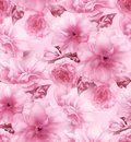 Pink cherry sakura flower floral digital art seamless pattern texture background Royalty Free Stock Photo